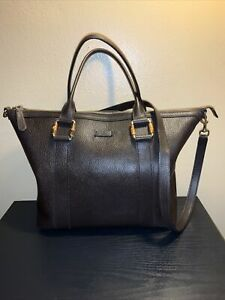 Gucci brown pebbled leather satchel top handle crossbody gold tone hardware bag