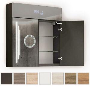 Spiegelschrank Bad mit Beleuchtung LED Badezimmerschrank 66x72 2-türig Spiegel