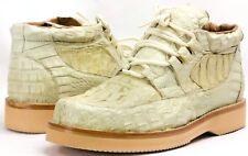 Men's Genuine Crocodile Skin Off-White Leather Lace Up Shoe Exotic Zapatos 6.5