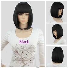 WOMENS LADIES SHORT BOB WIG FANCY DRESS COSPLAY WIGS POP PARTY COSTUME BLACK UK
