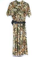 Tina Barrie Women's Vintage Belted Black Tan Print Dress Sz 12 Button Up Midi
