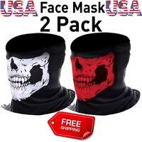2 Ghost Biker Skull Hood Face Mask Motorcycle Ski Balaclava CS Bike Sport Helmet