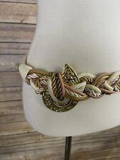 Vintage Nwt M/L Braided Cord Belt Metal Detail Boho Hippie Cream Tan
