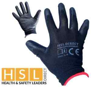 HSL DIRECT NYLON PU COATED GRIP SAFETY WORK GLOVES GARDENING BUILDERS ROOFING