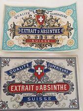 2 étiquette extrait d'absinthe suisse