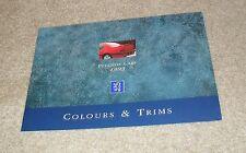 Peugeot Colour Guide Brochure 1992-1993 - 205 GTI CTI 309 GTI 405 Le Mans