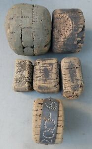 6 EA UNIQUELY SHAPED VINTAGE WEATHERED CORK FISHING NET FLOATS 1 W METAL ID BAND