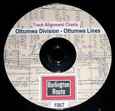 CB & Q RR Burlington Route1967 Ottumwa Lines Track Chart PDF Pages on DVD