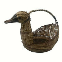 Duck Goose Wicker Woven Basket with Handle Vintage Collectible Decor