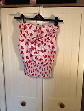 RIVER ISLAND Ladies Beige Red Heart Print Satin Sleeveless Ruffle Top Size 6