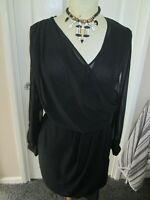 RIVER ISLAND BLACK SHEER SLEEVE CROSSOVER DRESS SIZE 10