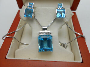 Gorgeous 14k White Gold Large Blue Topaz & Diamond Hanging Necklace Earrings Set