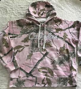 Women Cabelas Pink  Camouflage Hunting Hoodie Pullover Camo Sweatshirt ~ Large