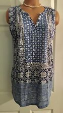 NWT- LUCKY BRAND SLEEVELESS BOHO JERSEY PRINTED TOP- Sz S