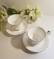 Set of 2 Val D'or Footed Cups and Saucers by Royal Albert