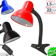 FLEXO CON PINZA E27 LAMPARA MESA DESK LAMP ESCRITORIO DESPACHO CAMA NEGRO ROJO