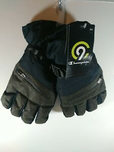 C9 Champion Men's Ski Gloves Water Proof Duo Dry Black Green New With Tags