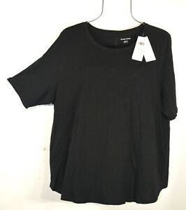 Eileen Fisher Black Elbow Sleeve Round Neck Cotton Top Blouse Shirt XXL NWT