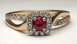 ESTATE 14K MULTI-TONE GOLD RUBY & DIAMOND RING-SIZE 9.75-585-.83tgw-FREE US SHIP