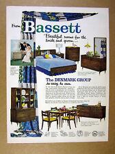 1957 Bassett Denmark Group Furniture danish style dining room bedroom print Ad