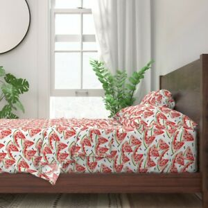 Watercolor Watermelon Summer Red Green 100% Cotton Sateen Sheet Set by Roostery