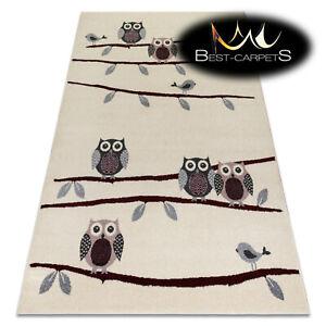 MODERN amazing RUGS 'HEOS' Owls Birds cream claret CARPETS ORIGINAL for children