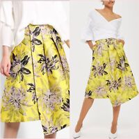 Topshop Premium  Collection Yellow Floral Prom Midi Skirt Size 8 US 4 Blogger ❤