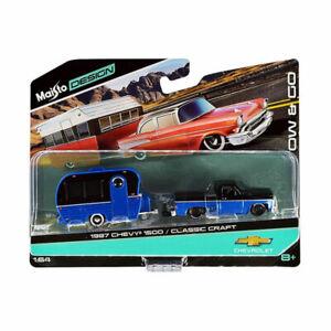 Maisto 15368-11 Chevrolet 1500 mit Anhänger blau/schwarz Maßstab 1:64 NEU!°