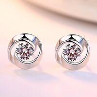 925 Sterling Silver Swirl Crystal Stone Stud Earrings Womens Girls Jewellery New