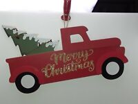 """Red Truck w/Tree Wood """"Merry Christmas"""" Wall Hang Decor New"""