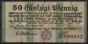 [13792a] - NOTGELD KONITZ (heute: Chojnice), Stadt, 50 Pf, 01.01.1917. Tieste 36