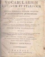 VOCABULARIUM LATINUM ET ITALICUM TOMUS SECUNDUS di Salvatorem Baldassari 1818