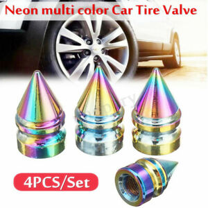 4pcs Universal Car Wheel Tire Valve Stems Caps Neon Multi Color Short Spike