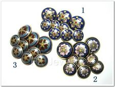 Vintage Chinese Cloisonne Enamel Floral Flower Button Set Old Stock