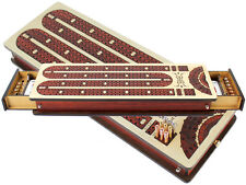 Continuous Cribbage Board +Drawer with Inlaid 3 Tracks & place to mark won games