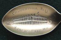 Sterling Souvenir Spoon Kansas City, MO Convention Hall, 1900