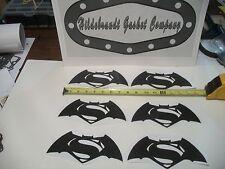BATMAN VS SUPERMAN STICKERS  4D CARBON FIBER  6 FOR  $10.99 ca **FAST SHIPPING**