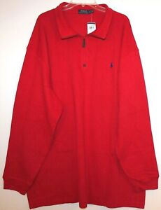 Polo Ralph Lauren Big & Tall Mens Red 1/2 Zip Cotton Sweater NWT $125 Size 2XLT