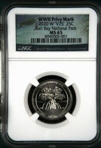 2020 W Salt River Bay NGC MS 65 - V75 WWII Privy Mark