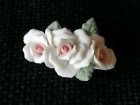 Vintage Triple Rose Ceramic Pale Pink Flower Hand Crafted Brooch