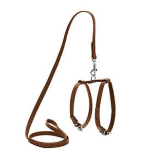 WAUDOG Glamour Leather Dog Harness and Lead Set X Small / Small Brown 122cm Long