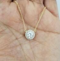 14k Yellow Gold Over Women Round Diamond Halo Pendant Necklace