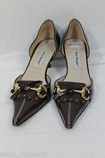 PILAR BURGOS Brown Leather Heel Horsebit Loafers Pointed Toe Heels Sz 6 EU 38