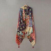 Floral Tassel Scarf For Women Ethnic Viscose Neckerchief Foulard Wrap And Shawls