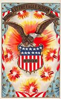 Fourth of July Postcard Eagle, Fireworks, Shield, Flag~112397