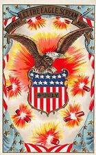 Fourth of July Postcard Eagle, Fireworks, Shield, Flag~112397