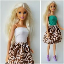 Barbie Doll Clothes Dress Shirt/Top & Skirt Outfit w/ Shoes Caramel White Floral