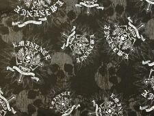 RPA392 Eminence Biker Skull Goth Motorcycle Cross Cotton Quilting Fabric