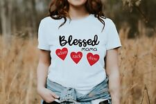 Personalized Tee for Mom  Kids Names Blessed Mama White MOM T-Shirt  S M L XL