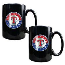 TEXAS RANGERS 2 Piece MLB Pewter Emblem Ceramic Coffee Mug Set - Black